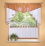 Scheibengardinen Set 2-teilig 150cm breit in verschiedenen Farben, Farbe:terra