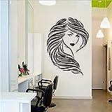 Sticker Mural Mode Beauté Fille Cheveux Longs Sexy Salon Art Autocollant Mural en Vinyle Home Decor Canapé Fond Amovible Coiffeur Coiffure 57X79Cm