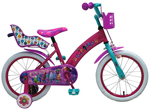 Kubbinga Girl Trolls Bicycle, Pink/Pink, 16-Inch