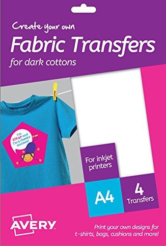 AVERY Zweckform MD1003 Textilfolien für farbige Textilien (210x297 mm auf DIN A4, bedruckbare T-Shirt Folie zum Aufbügeln, Inkjet-/Tintenstrahldrucker) 4 Transferfolien weiß