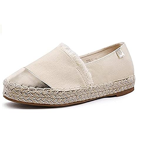 Szsmart Women's Slip on Woven Pumps Flats Shoes Canvas Espadrilles, Beige, 5 UK