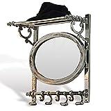 Loberon Garderobe Meyssa, Aluminium, H/B/T ca. 53/46 / 23 cm, antiksilber