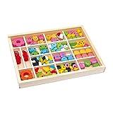 """Fädelbox """"Julia"""" aus Holz, ideal auch zum Mitnehmen, Fädelspiel / Bastelspiel mit bunten Holzperlen in Form von verschiedenen Tierköpfen, Eistüten oder Blumen, inkl. 2 bunten Bändern zum Basteln von Schmuck, Armbändern und Freundschaftsarmbändern, ab 3 Jahre"""