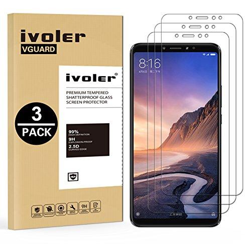 iVoler [3 Unidades] Protector de Pantalla para Xiaomi Mi MAX 3, Cristal Vidrio Templado Premium