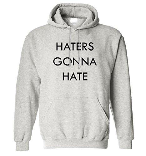 Hoodie da uomo con Haters Gonna Hate Phrase Slogan stampa. Large, Grigio
