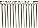 50 x HEAVY DUTY 9' TENT PEGS - 23CM x 4.5MM - MADE FROM GALVANISED STEEL - CURVED HOOK ON TOP - GREAT FOR SECURING TENTS / AWNINGS / GOAL NETS / POND NETTING