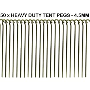 "518848rLThL. SS300  - 50 X Heavy Duty GALVANISED 9"" Steel Tent PEGS Metal Camping HIGH Quality New"