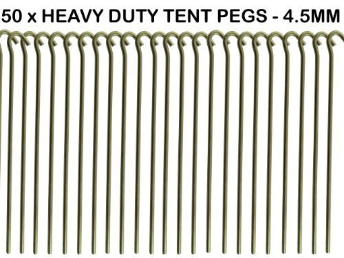 Price comparison product image 50 x HEAVY DUTY 9 TENT PEGS - 23CM x 4.5MM - MADE FROM GALVANISED STEEL - CURVED HOOK ON TOP - GREAT FOR SECURING TENTS / AWNINGS / GOAL NETS / POND NETTING by We Search You Save