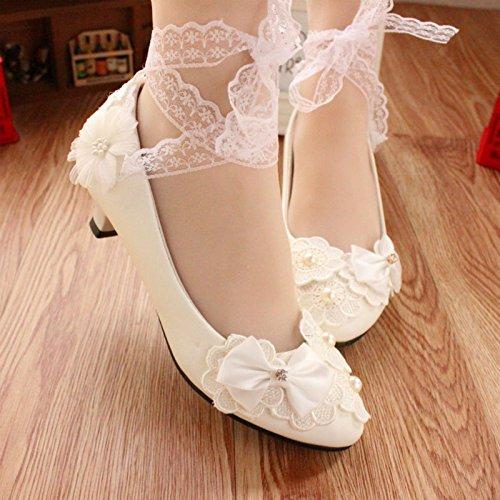 JINGXINSTORE Tacchi alti da donna con cinturino in pizzo bianco perlato bianca