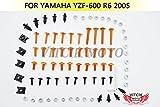 VITCIK Kit completo di carenatura viti bulloni per Yamaha YZF600 R6 2005 YZF-600 YZF 600 R6 05 Serraggio per moto, clip in alluminio CNC (Arancione & Argento)