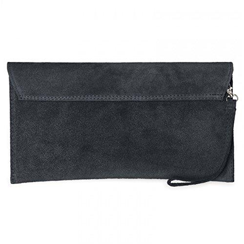 CASPAR TL702 Damen Wildleder / Veloursleder Clutch Tasche mit Handschlaufe Dunkelgrau
