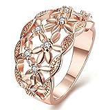 Aeici Roségold Ringe für Damen Modestil Hohle Blume Kristall Größe 57 (18.1)