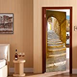 Rocwart 3D Puerta Mural de Vinilo para Sala de Estar niños bebé Niños extraíble Vinilo Piedra Paso Papel Pintado Arte Decoración del hogar 30,3x 78.7'