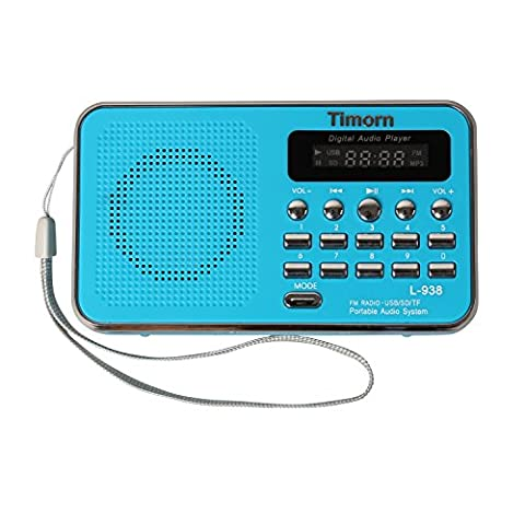 Timorn Radio Mini Music Player Portable Supports fonction TF de carte USB SD format MP3 / radio FM (L938) (Bleu)