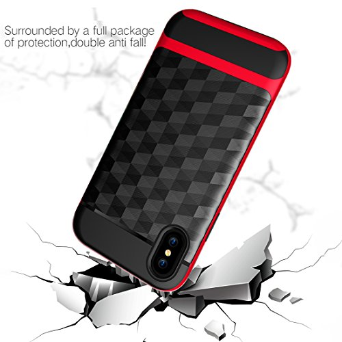 iPhone X Hülle, HICASER Dual Layer Case Shock Proof Prism Textur TPU +PC Bumper Handytasche Schutzhülle für iPhone X Schwarz / Rot Schwarz / Rot