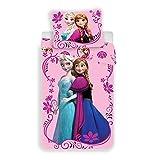 Jerry Fabrics Elsa ed Anna Frozen Set da Letto, Cotone, Rosa, 140x200+70x90 cm