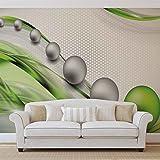 Grün Silber Abstrakt Moderne - Wallsticker Warehouse - Fototapete - Tapete - Fotomural - Mural Wandbild - (2393WM) - XXXL - 416cm x 254cm - VLIES (EasyInstall) - 4 Pieces