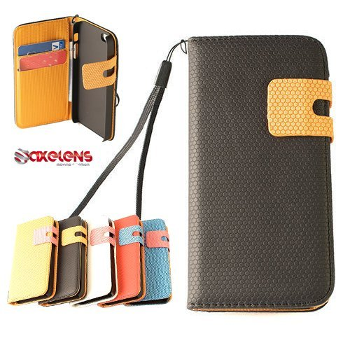 ÉTUI HOUSSE COQUE PORTEFEUILLE BICOLORED POIS POLKA DOT - POUR IPHONE 5 et 5S - CASE COVER WALLET SLIM - ROUGE / BLEU Noir/Orange