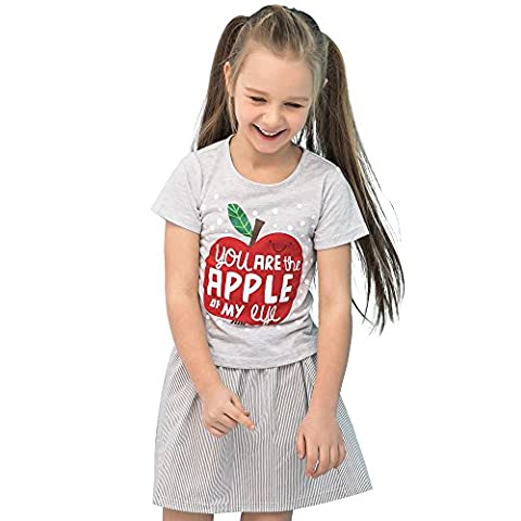 Sanlutoz Kid Girls T-shirt Clothes and Pants Shorts Skirt Outfit 2 Pieces Outfit Set (7-8 years/130cm, CCSS7029)