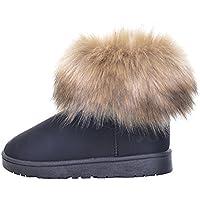 Mujeres Invierno Pelo de Zorro Botas de Nieve de Invierno Botas más Terciopelo Acolchado Zapatos de algodón de Moda Casual Cortas Botas