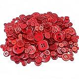 Demarkt Harz Knöpfe zum Basteln DIY Material 7-28MM 660 Stück Rot Serie