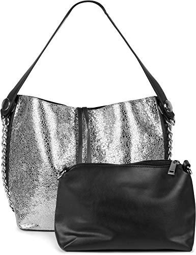 styleBREAKER Damen Schultertasche Set im Metallic Look mit Kette, Shopper, Handtasche, Tasche 02012273, Farbe:Silber