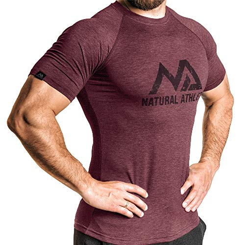 Natural Athlet Fitness T-Shirt meliert - Herren Männer Kurzarm Shirt optimal für Fitnessstudio, Gym & Training - Passform Slim-Fit, Rundhals & tailliert - Sport & Freizeit