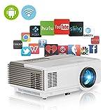 Wireless LED Pico Projektor, tragbar mini Multimedia Video Projektor WIFI Unterstützung 1080P 720P ideal für Zuhause Theater Unterhaltung Spiele Parteien im Freien Film, Weiß