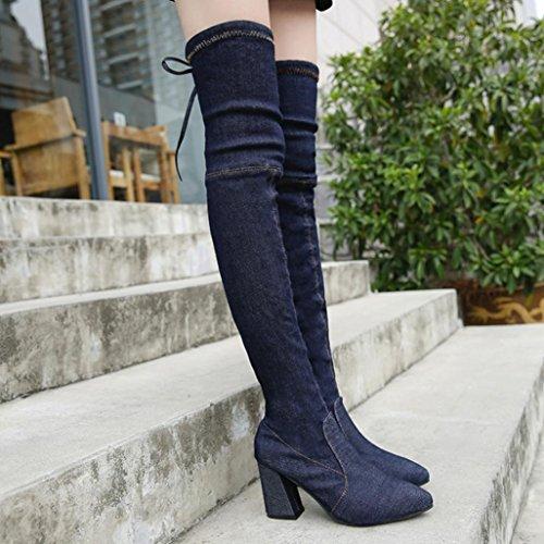 Femme Chaussures Bottes À Talons Hauts, Somesun Chaussures Mode Femme Chaussures À Talons Hauts Sur Le Genou Bottes À Bout Pointu Noir