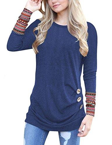 Junshan Langarm Shirt Damen Bluse Lange Ärmel Geblümter Pullover Elegant Sweatshirt T-Shirt Casual Slim Tops Blouse Oberteile (38, Blau)