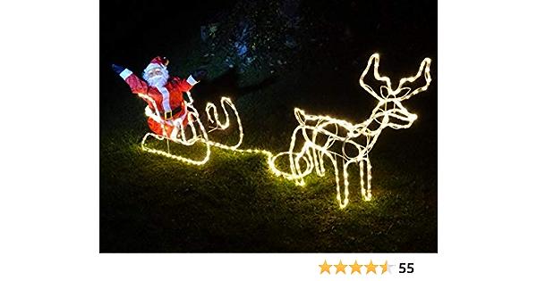 XXL LED **Magic** Rentier 2 Meter lang kaltweiss ca 70 cm hoch Deluxe Premium Set~336 LED`S~kaltweiss oder warmweiss~IP44~ Schlitten Flash bis Standlicht WEIHNACHTSMANN~8 Programme