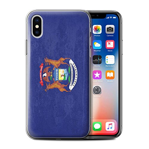 Stuff4® Gel TPU Hülle/Case für Apple iPhone XS/Michigan Muster/Jahrgang USA-Staat Flagge Kollektion Michigan Apple