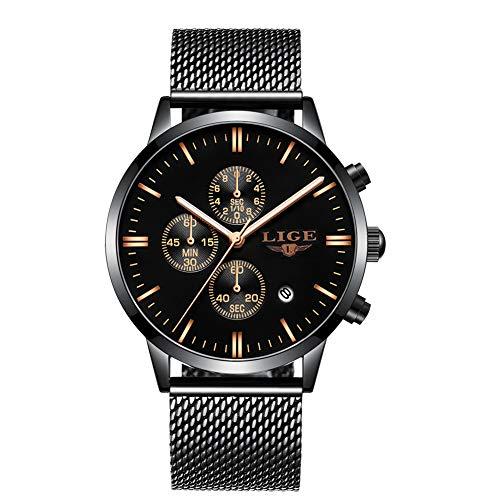 LIGE Herrenuhr Sport Wasserdicht Analoger Quarz Fashion Schwarz Edelstahl Armband 9834