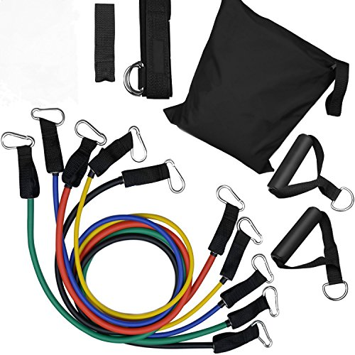 Mit Tür-anker Resistance Bands (SIMINLIU® 11 stk Resistance Bands Expander Set, Widerstandsbänder Tubes mit Tür-Anker, Knöchelriemen und Wasserdichte Tragetasche - Für Widerstandstraining, Krafttraining zu Hause - Fitness, Yoga)