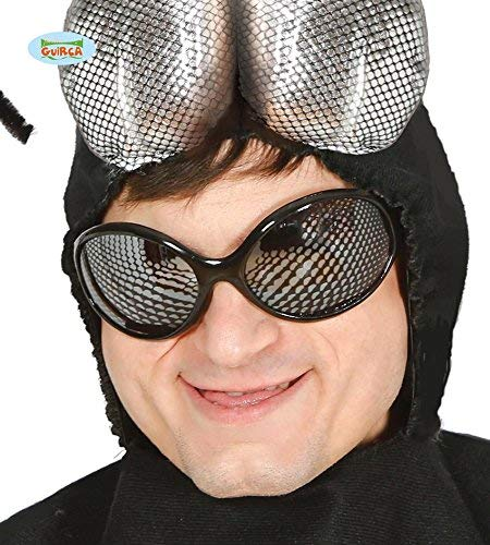 Guirca Sexy Brille im Mosquito Look Fliege für Damen Karneval Fasching Party Silber Schwarz