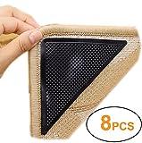 Yesreal Anti-Rutsch-Ecken für Teppiche, Gummi, mit starkem, selbstklebendem, doppelseitigem Teppichklebeband, Schwarz , 8 Stück