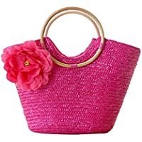 Hungrybubble Straw Bag Natural Chic Hand-Woven Handle Ring Toto Large Casual Beach Rose Bolsos