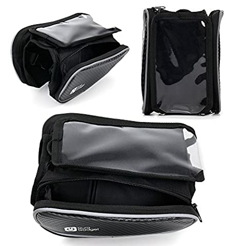 Small Shockproof Bicycle Front Frame Saddle Bag with Double Pouch for the LG Q8 - by DURAGADGET