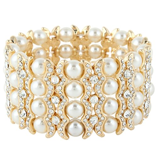 EVER FAITH® Gold-Ton künstlich Perl Braut Stretch Prom Armband (Ideen Anzüge Prom)