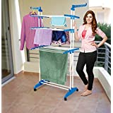 Dealcrox Cloth Drying Stand Stainless Steel Hanger Double Pole Cloth Rack Stand
