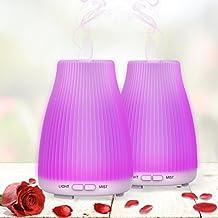 Neloodony Diffusore Di Olio essenziale 100ml Aromaterapia Diffusore Con 8 luci a LED a colori,Auto Spegnimento Senza Acqua e Modalità Nebulizzazione Regolabile Per Camera Da Letto Ufficio,Set Da 2