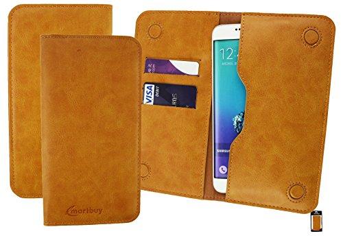 Emartbuy® Tan PU Leder Magnetisch Schlank Brieftasche Tasche Sleeve Halter (Größe 3XL) Geeignet Für Wolder Wiam 51 Smartphone