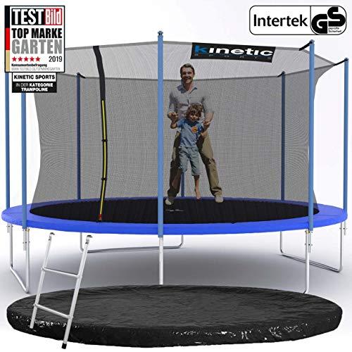 Kinetic Sports Outdoor Gartentrampolin Ø 425 cm, TPLS14, inklusive Sprungtuch aus USA PP-Mesh +Sicherheitsnetz +Rand- u. Regen-Abdeckung +Leiter, bis 150kg, Intertek GS-geprüft, UV-beständig, BLAU