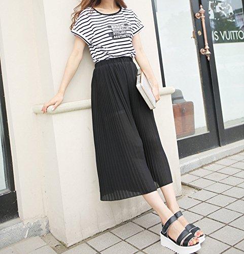 Smile YKK Pantalon Jupe Femme Mousseline de Soie Jambe Large Plage Mode Noir
