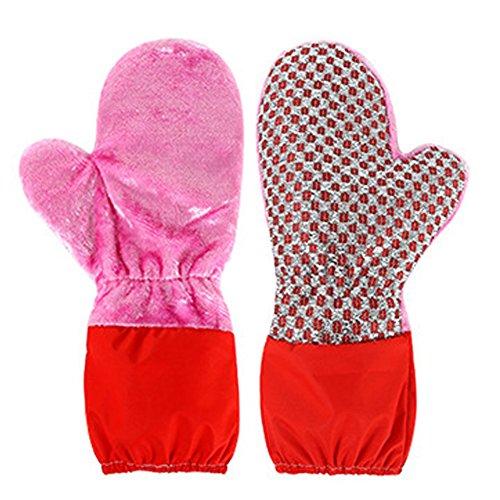 Multifunktions wasserdichte Küche Reinigungs Handschuhe, Sunbeter Haushalt Holzfaser zwei Seiten Magie-Handschuh für die Reinigung von Desktop / Geschirr / Auto (1 Paar)