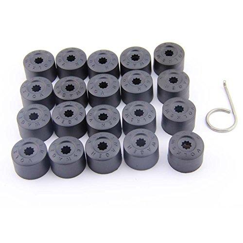 Kuwan 20 Stück schwarze Radmutterkappen mit Demontage-Werkzeug, 16 normale und 4 abschließbare Radmutterkappen für VW