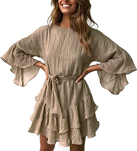 PRETTYGARDEN Damen Minikleid mit Rundhalsausschnitt, 3/4-Ärmel, Rüschen, A-Linie, mit Gürtel - Khaki - X-Groß (Stiefel Dollar Für 20)