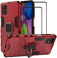 EasyLifeGo for Samsung Galaxy M51 / SM-M515F Kickstand Case with Tempered Glass Screen Protector [2 pieces], H
