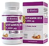 Comprimidos Vitamina B12 de G-Biotics ~ Fuerte 1000 mcg con Ácido Fólico ~ Suplemento EXTRA de ALTO GRADO