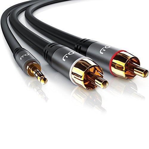 3,5-mm-cinch-audio-kabel (CSL - 5m Cinchkabel Stereo 3,5mm Klinke zu 2x Cinch | AUX Eingänge Audio 3,5mm Klinken Stecker zu 2x Cinch / RCA Stecker | Metellgehäuse vergoldet / Audiokabel doppelt geschirmt)